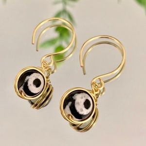 🌸Artisan agate stone earrings with beautiful eye